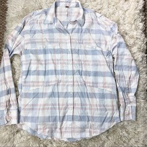 Free People Plaid Button Up Shirt